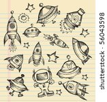 outer space doodle sketch... | Shutterstock .eps vector #56043598