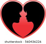silhouette of a loving couple...   Shutterstock .eps vector #560436226