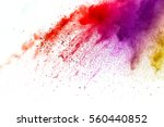Small photo of abstract powder splatted on white background,Freeze motion of color powder exploding/throwing color powder, multicolored glitter texture.
