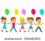 kids little boys and girls go... | Shutterstock .eps vector #560481892