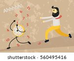 running crazy time  a clock is... | Shutterstock .eps vector #560495416