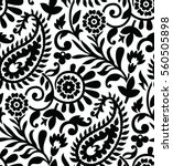 Seamless Paisley Black And...