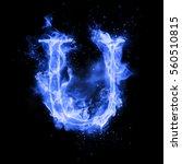 Fire Letter U Of Burning Blue...