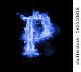 Fire Letter P Of Burning Blue...