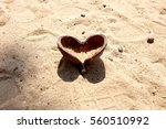 Heart Fruit On The Sand.
