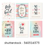 Stock vector vector set of valentine s day hand drawn posters or greeting card with handwritten calligraphy 560516575