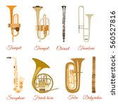 vector set of wind musical...
