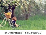 people who arrived on a bicycle ... | Shutterstock . vector #560540932