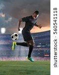 african american soccer player...   Shutterstock . vector #560541118