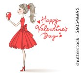 beautiful  cute  romantic girl... | Shutterstock .eps vector #560546692
