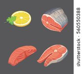 flat salmon steak and lemon.... | Shutterstock .eps vector #560550388