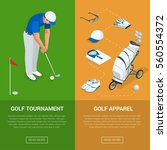 vertical golf club banners with ... | Shutterstock .eps vector #560554372