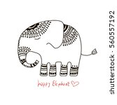 cute elephant illustration.... | Shutterstock .eps vector #560557192