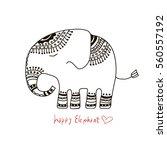 cute elephant illustration.... | Shutterstock .eps vector #560557192