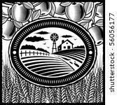 retro farm black and white | Shutterstock . vector #56056177