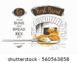 shovel baked bread oven vector... | Shutterstock .eps vector #560563858