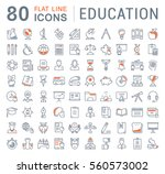 set vector line icons in flat... | Shutterstock .eps vector #560573002