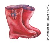 pair of red rubber boots.  ... | Shutterstock . vector #560574742