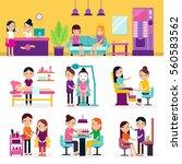 beauty procedures set with...   Shutterstock .eps vector #560583562