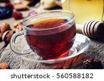 Black Tea In A Glass Cup With...