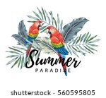 red macaw parrots with palm... | Shutterstock .eps vector #560595805