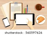 workplace office work in a team.... | Shutterstock .eps vector #560597626