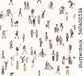 Seamless Pattern Of Tiny Peopl...
