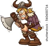 scared cartoon viking. vector... | Shutterstock .eps vector #560600716