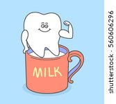 cartoon tooth with a cup of... | Shutterstock .eps vector #560606296