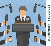 press conference vector... | Shutterstock .eps vector #560617195