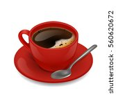 Red Cup Of Coffee. Vector Clip...