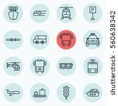 set of 16 vehicle icons.... | Shutterstock .eps vector #560638342