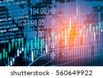 stock market trading graph and... | Shutterstock . vector #560649922