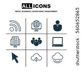 set of 9 web icons. includes... | Shutterstock . vector #560652865