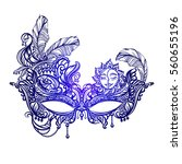 hand drawn face masks in the... | Shutterstock .eps vector #560655196