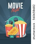 movie night. can be used for... | Shutterstock .eps vector #560658682