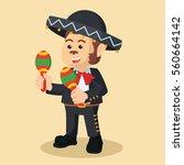 monkey mariachi playing maracas | Shutterstock . vector #560664142