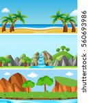 Three nature scenes with different landforms illustration