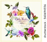 Wedding invitation with roses, poppy flowers and peony and two hummingbirds around. This template can be used as other type of invitations and holidays. Vector - stock. | Shutterstock vector #560694556