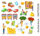 cartoon delivery and logistics... | Shutterstock .eps vector #560703328