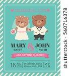 cute bear couple illustration... | Shutterstock .eps vector #560716378