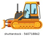 yellow bulldozer on white... | Shutterstock .eps vector #560718862