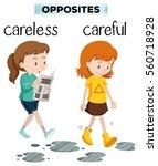 opposite words for carelss and...   Shutterstock .eps vector #560718928