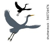 Heron Vector Illustration Styl...