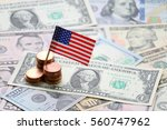 us flag sign and dollar cash... | Shutterstock . vector #560747962