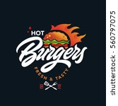hot burgers vector logo  fast... | Shutterstock .eps vector #560797075