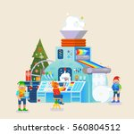 christmas elves factory with... | Shutterstock .eps vector #560804512