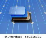 solar panel and schematic 3d... | Shutterstock . vector #560815132