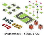 set isometric road and vector... | Shutterstock .eps vector #560831722