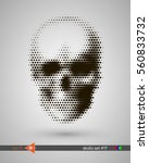 halftone skull  line  wave ... | Shutterstock .eps vector #560833732